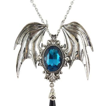 Dark Beauty Della Morte Gothic Vampire Bat Broach Pendant Necklace