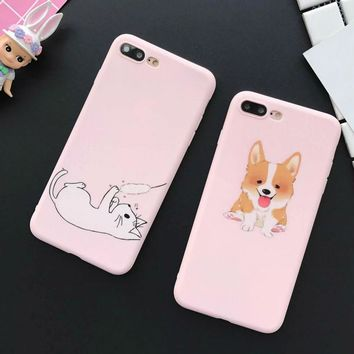 Cartoon Funny Cat Dog Frosted Soft TPU Phone Back Cover Case For iPhone 6 6S Plus Mobile Phone Bags & Cases Capa