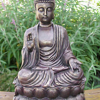 Sitting Shakyamuni Buddha Antique Bronze Finish Large Garden Statue Sculpture