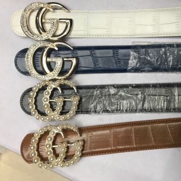 GUCCI belt drilled with pearl and rhinestone high qaulity belt