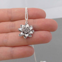 Silver Flower Necklace - Sterling Silver Chain - simple everyday wear Necklace - Cutest Little Silver lotus -simple,dainty jewelry