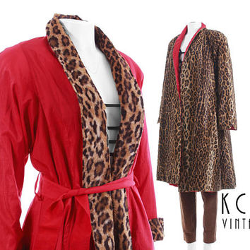 "Faux Fur Coat 1X Vintage Swing Coat Reversible Wide Sweeping Raincoat Mod Leopard Print Vintage 80s Vintage Clothing Women Size XL 48"" Bust"