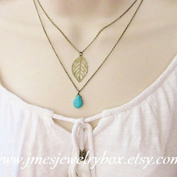Leaf and turquoise layered necklace