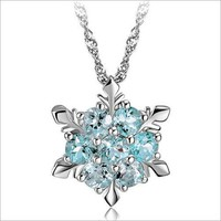 Silver plated zircon Snowflake Necklace Christmas gift 171123