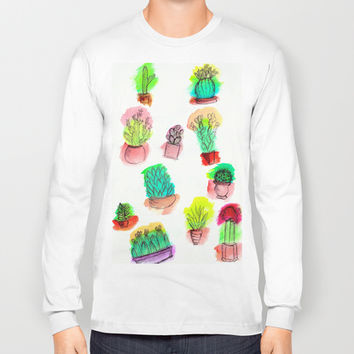 Colored Cactus Long Sleeve T-shirt by Yuval Ozery