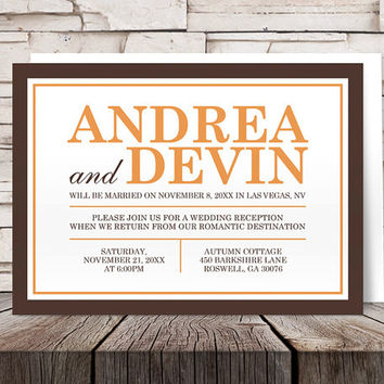 Brown Orange Autumn Reception Only Invitations and RSVP - Post Wedding Reception - Printed Invitations