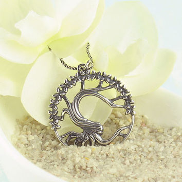Twisted Tree Necklace in Antiqued Sterling Silver