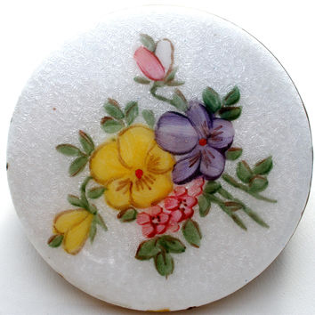 Vintage Floral Lipstick Holder Mirror Compact