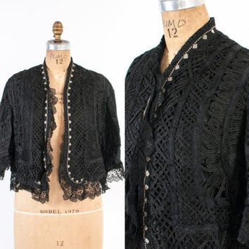 Victorian Battenburg Lace JACKET / Vintage Early 1900s Black & Ivory Tape Lace Ruffled Cropped Jacket