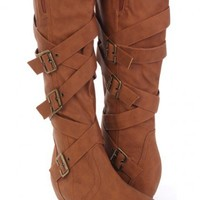 Cognac Faux Leather Buckle Strapped Mid Calf Boots @ Amiclubwear Boots Catalog:women's winter boots,leather thigh high boots,black platform knee high boots,over the knee boots,Go Go boots,cowgirl boots,gladiator boots,womens dress boots,skirt boots,pink b