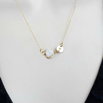 Initial Necklace, Druzy Necklace, Personalized Necklace, Bridesmaid Necklace, Crystal Necklace, Gold, Silver, Rose Gold, Wedding jewelry