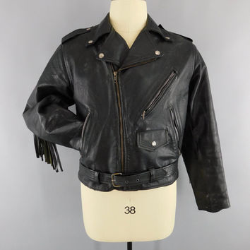 Vintage 1970s Biker Jacket / 70s Black Leather Moto Jacket / Fringed Leather Motorcycle Jacket / Rockabilly Menswear / Size 42 R