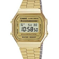 Casio Men's Quartz Watch with Grey Dial Digital Display and Gold Stainless Steel Strap A168WG-9EF