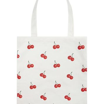 Cherry Print Canvas Tote Bag