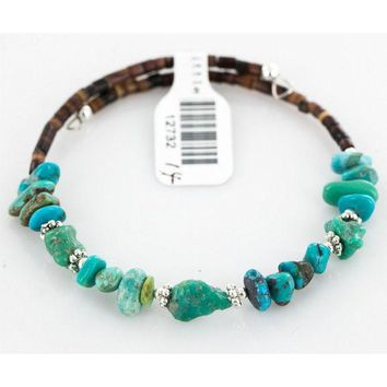 DCCKV2S $80 Tag Authentic Made by Charlene Little Navajo Native American Natural Turquoise Adjustable WRAP Bracelet