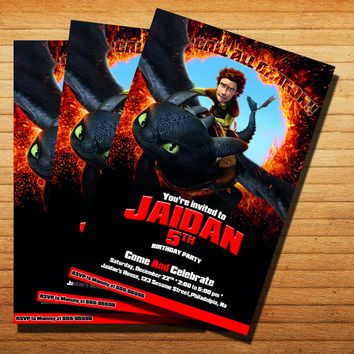 How To Train Your Dragon Invitation Cards 4x6, 5x7, Customized