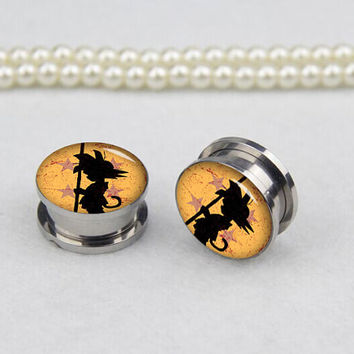 Pairs dragon ball    ear plugs, Stainless Steel Flesh Tunnel Ear Plug Screw Body Piercing Jewelry Ear Expander