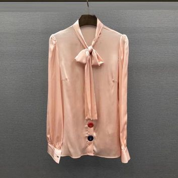DCCKON3 european early the color button collar tie silk blouse