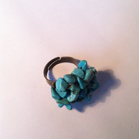 Turquoise Cristal Ring, Statement Ring, Turquoise Chip Ring, Natural Stone, Healing Crystal Jewellery, Limited Edition, OOAK, Elegant