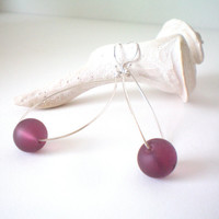 frosted purple wire wrapped hoop earring by KimberlyAnnMarie