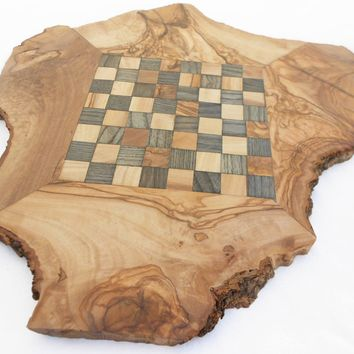Engraved Chess Set Natural Edges Olive Wood Rustic Chess Board, Dad gift, Gift f