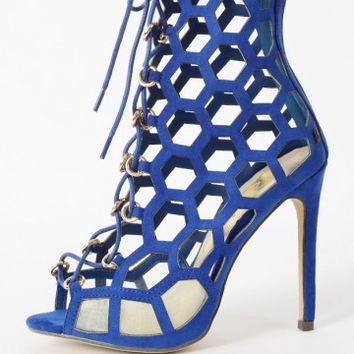 Lenka-06 Lace Up Cut Out Gladiator Heels | MakeMeChic.com