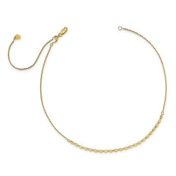 Leslie's 14K Yellow Gold Polished D/C With 3.5in Ext. Adjustable Choker