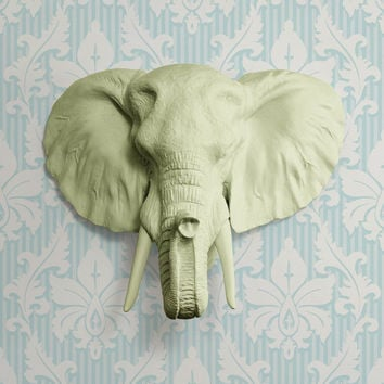The Large Savannah Sage Green Faux Taxidermy Resin Elephant Head Wall Mount   Sage Green Elephant w/ Colored Tusks
