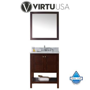 """Winterfell 30"""" Single Bathroom Vanity in Cherry with Marble Top and Square Sink with Mirror"""