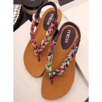 Colorful Braided Flat Sandals B060506 by goodbuy on Zibbet