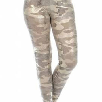 Camo Liquid Look Snake Textured Leggings in 2 Colors One Size Fits Most