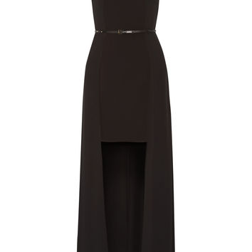 Halston Heritage - Belted chiffon and stretch-jersey gown