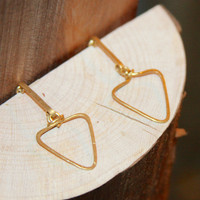 Triangle Arrow Earrings, Arrow Stud Earrings, 14k Gold Filled Arrow Earrings, Handmade Jewelry, Tribal Arrow Earrings, Modern Earrings