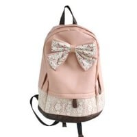 Cute Lace College Style Leisure PU leather Backpack Lovely Bow Rucksack