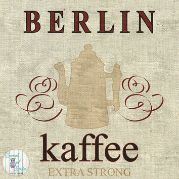 Printable Fabric Transfer Image, Digital Image, Paper Craft Supplies, Instant Art, Home Decor, Clipart - Berlin, German Coffee Shop