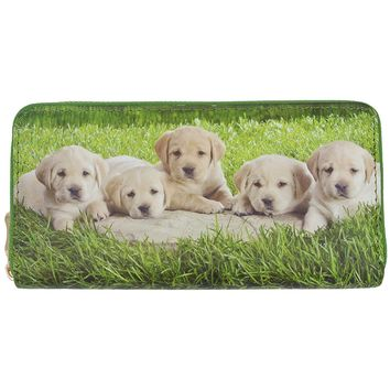 Women's Clutch Wallet Zip Around Billfold 5 Puppies on Green Grass