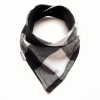 Baby Bandana Bib Scarf in White and Black Buffalo Plaid Flannel with Snap Closure for Boy or Girl