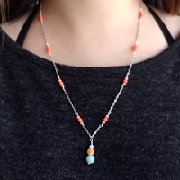 Handmade Natural Coral Agate Amazonite Beads Necklace. Silver-plated Chain with Strong Clear Elastic PU String. Nature Lover Necklace.