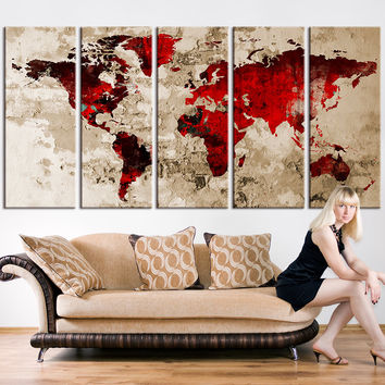 Canvas Wall Art - Blood Red Watercolor World Map on old Wall -  Large Wall Art Wood World Map Art, Extra Large World Map