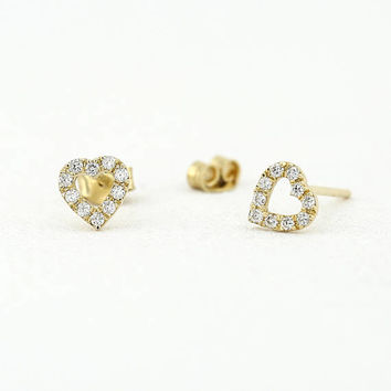 14K Gold Mini Heart Earrings with Round Cut Diamonds/ Micro Pave Earrings / Heart Shape Diamond Studs/ Minimalist Earrings