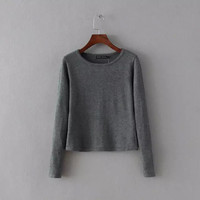 Round-neck Long Sleeve Pullover Knit Tops Bottoming Shirt [6332335876]