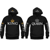QUEEN KING printed fleece hooded long-sleeved couple costume