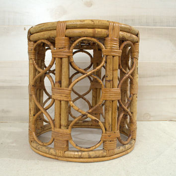 Rattan Bentwood Foot Stool, Tortoise Shell Bamboo Plant Stand, 1970s Round Wicker Ottoman