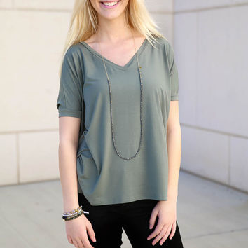 Piko V neck Top Short Sleeve - olive