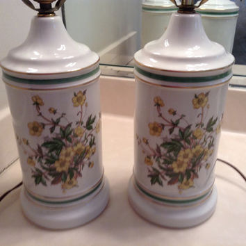 1960s Vintage Pair of Ceramic Lamps / Biege Pair of Lamps Green & Yellow Floral Pattern / Vintage Lighting