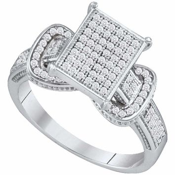 10kt White Gold Women's Round Diamond Rectangle Cluster Fashion Ring 1-3 Cttw - FREE Shipping (US/CAN)