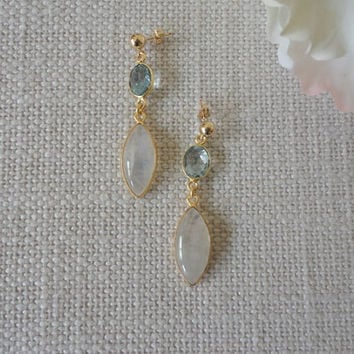 Gold earring dangle, Rainbow moonstone, blue topaz, gold drop earring gemstones, gold earrings handmade, unique for her jewelry