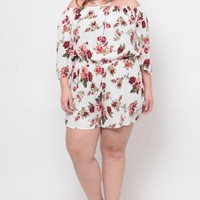 Plus Size Floral 3/4 Sleeve Romper