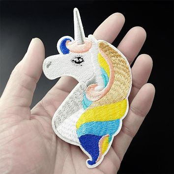 Unicorn (Size:6.5X11.4cm) DIY Cloth Badges Mend Decorate Iron On Patch Clothes Apparel Sewing Decoration Applique Sew On Patches