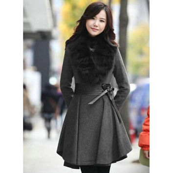 Pure Color Long Sleeve V-Neck Long Overcoat = 1838951236